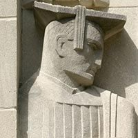Photo of a limestone graduate carving